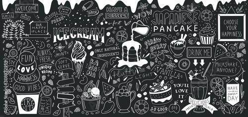 Obraz Ice cream bar doodle art. Dessert big set. Line vector elements with lettering.  - fototapety do salonu