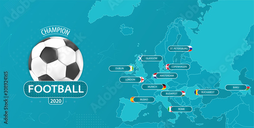 Fotomural Vector illustration for imaginary football championship with a map with host cou