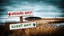 Street Sign To RIGHT WAY Versu...