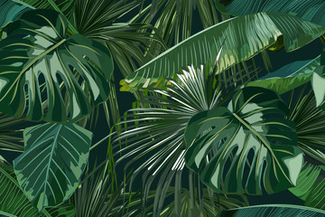 Panel Szklany Podświetlane Do restauracji Summer seamless pattern with tropical palm leaves. Jungle fashion print. Hawaiian background. Vector illustration