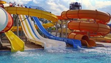 Colorful Waterslides And Pool....