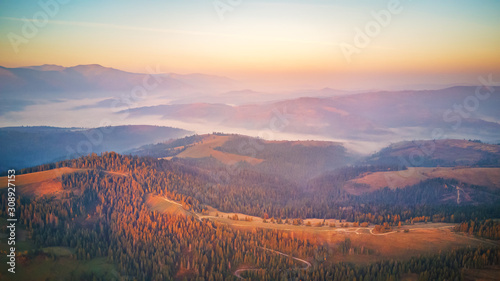 Stampa su Tela Aerial panorama of autumn mountains