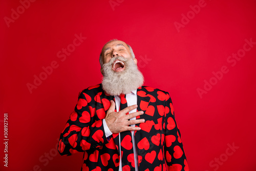 Close-up portrait of his he nice attractive cheerful cheery glad bearded gray-haired man lol laughing out loud isolated over bright vivid shine vibrant red color background