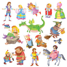 Big Set Of Cute Fairy Tale Cha...