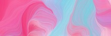 Colorful Horizontal Banner. Abstract Waves Design With Pastel Violet, Hot Pink And Sky Blue Color