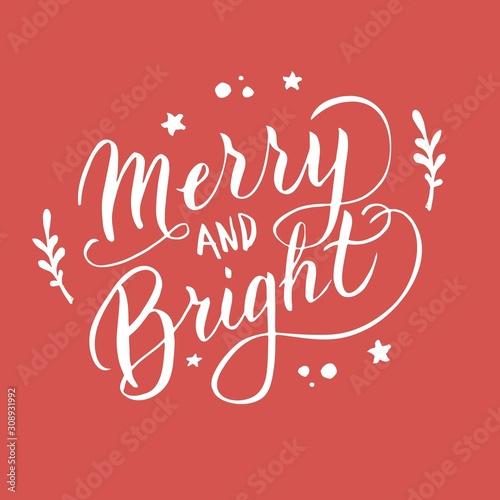 Fotografía  Merry and bright font postcard