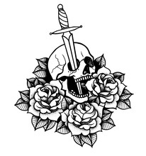 Tattoo With Roses And Snake, Skull, Sword And Dagger.