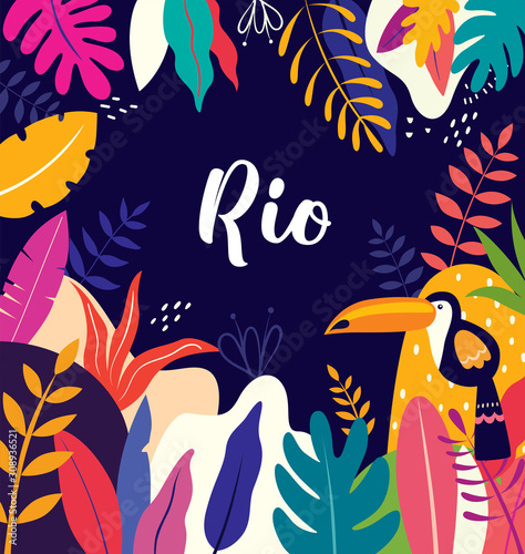 Vector colorful illustration with tropical flowers, leaves and toucan Canvas Print