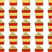 Popcorn In A Striped Box.A Bucket Of Pop-corn. Seamless Pattern. Hand Drawn Vector Illustration.