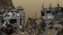 Cartoon Ruins Of Crooked Ruined City Houses