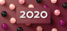 Happy New Year 2020. Holiday Background With White Paper Numbers 2020 And Realistic Pink, Black And Leopard Balls. Realistic 3d Sign. Festive Design For Poster, Banners, Flyers, Card, Brochure