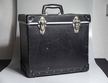 """London, England, 24/10/2019 Leather Unbranded 12"""" Inch Vinyl LP Record Storage Case Box With Two Clasps For Locking And Keys To Keep Vinyl Collection Safe And Organised For Dj's Personal Use"""