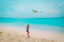 Happy Boy Flying A Kite On Tro...