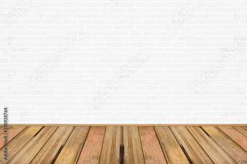 Fototapeta Empty living room with wooden floor and white painted brick wall background. For design interior. obraz na płótnie