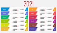 2021 Calendar, Print Template With Place For Photo, Your Logo And Text. Week Starts Sunday. Portrait Orientation. Set Of 12 Months. Planner For 2021 Year.