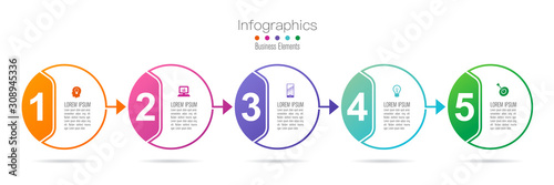 Photo  Infographics design vector with 5 options and business icons