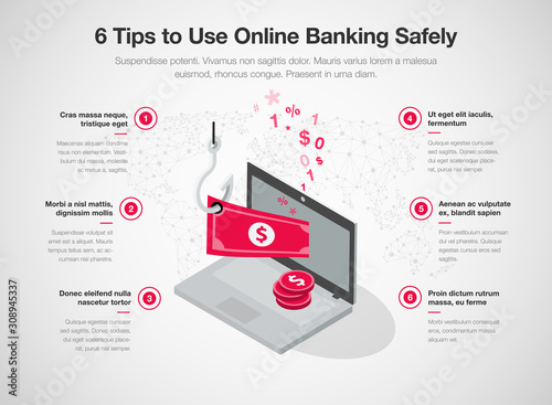 Fotomural  Infographic for 6 tips to use online banking safely with laptop, red banknote and fishing hook, isolated on light background