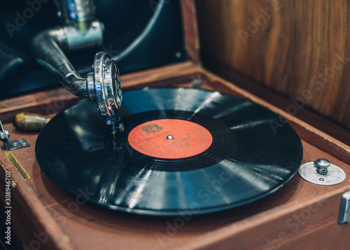 Turntable vinyl record player Canvas Print