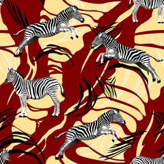 Fototapeta na wymiar Zebra pattern with skin texture. Animal background. - illustration