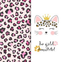Little Cute Leopard Head Vector Illustration With Leopard Print. T-shirt Design For Kids.