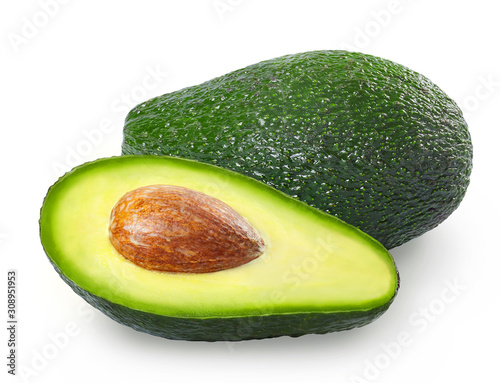 Photo Fresh avocado on white background. Full depth of filed.