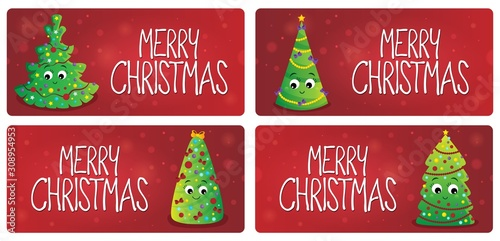 Foto op Aluminium Voor kinderen Merry Christmas theme cards 1