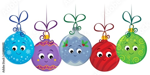 Foto op Aluminium Voor kinderen Stylized Christmas ornaments image 1