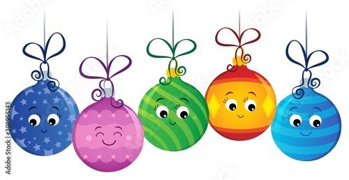 Foto op Aluminium Voor kinderen Stylized Christmas ornaments image 2