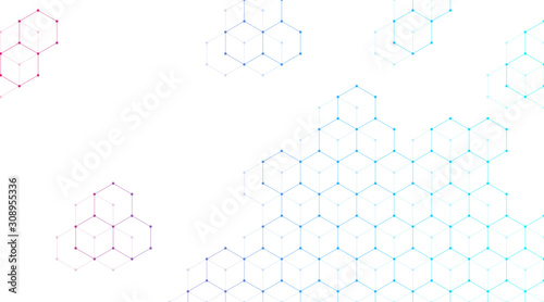 Fototapeta Technology abstract lines and dots connect background with hexagons. Hexagons connection digital data and big data concept. Hex digital data visualization. Vector illustration. obraz
