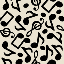 Vector Music Notes Seamless Pattern