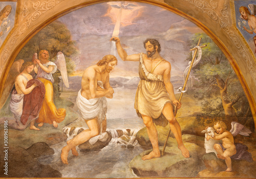Leinwand Poster  COMO, ITALY - MAY 9, 2015: The fresco Baptism of Jesus in church Basilica di San Fedele by Onorato Andina (18