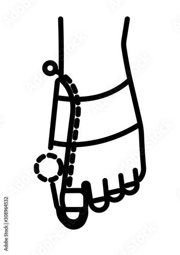 Hallux valgus brace and big toe orthopedic corrector linear icon Canvas Print