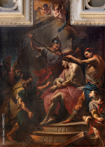 COMO, ITALY - MAY 9, 2015: The painting of The Crowning with Thorns in the church Basilica di San Fedele by Carlo Innocenzo Carloni (1686-1775) Canvas Print