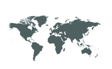 Isolated Global Vector World Map On White Background
