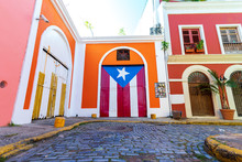 Colorful Photo Of Old San Juan Street In Puerto Rico.