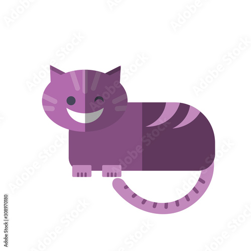 Fotografía Vector flat illustration of smiling Cheshire Cat in magenta pink colors isolated on white