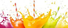 Drinking Straws In Fruit Juice Splashes Set Isolated On White