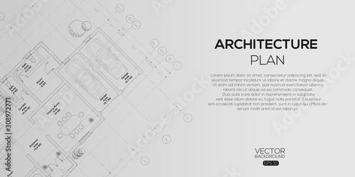 Fototapeta Detailed architectural plan , Architectural background , architectural plan vector  obraz