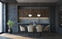 Kitchen Interior In Loft, Indu...