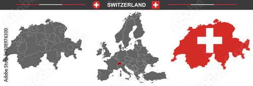 Fotografie, Obraz set of vector maps of Switzerland on white background