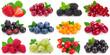 Leinwandbild Motiv Collection of fresh berries on white background