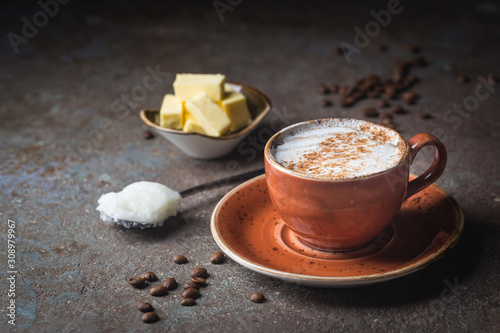 Bulletproof coffee, blended with organic butter and MCT coconut oil, paleo, keto, ketogenic drink breakfast Canvas Print