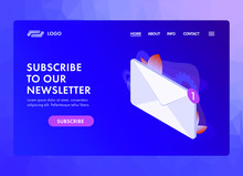Subscribe To Our Newsletter UI UX Web Template Or Landing Page Vector Illustration. Isometric Mail Envelope With Notification Icon, Text Box And Subscribe Button