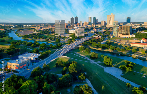 Aerial of Downtown Fort Worth Blue Sky