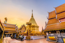 Wat Phra That Doi Suthep With Golden Morning Sky, The Most Famous Temple In Chiang Mai, Thailand