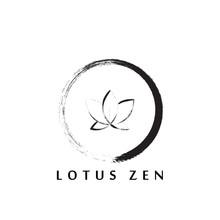 Abstract Zen Logo Design With Lotus Flower Inside.