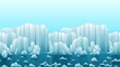 Parallax cartoon looped animation landscape with icebergs and sea. Arctic or antarctic landscape