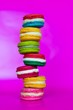 canvas print picture - colorful macaroons on white background