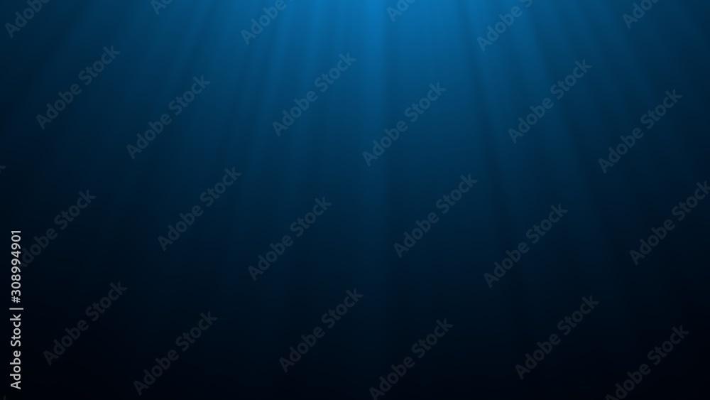 Fototapeta Deep blue undersea with sunlight ray through over surface ripple wave background. Dark scene beneath blue sun beam. Abstract marine and aquatic. 3D illustration