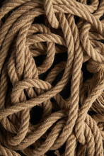 Top View Of Rope On Black Background